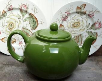 BEAUTIFUL OLIVE GREEN teapot English tea pot Farmhouse Decor