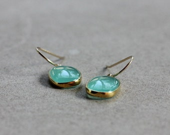 Aqua Blue Chalcedony Earrings - Bezel Set Earrings