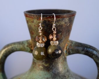 Green and Brown French Hook Dangle Earrings