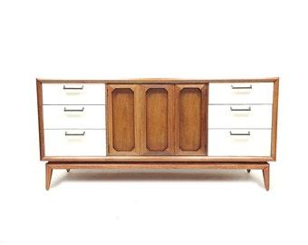 Vintage Modern Dresser In Wood and White