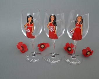 SALE Hand painted Bridal shower party Personalized Wine or Champagne glasses Portraits bridesmaids Gift Red dress