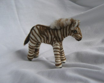 OOAK Baby Zebra With Brown Stripes Needle Felted Soft Sculpture