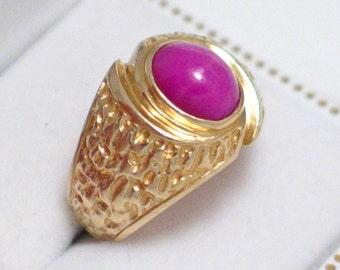 sz 7.5 14k gold Mens womens unisex red pink corundum ruby star sapphire cabochon tree bark type nugget pattern pinky ring band