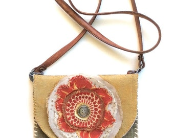One of a Kind Crossbody Bag, Big Red Flower, Upcycled Mixed Media,Textile Art Bag