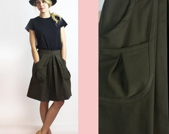 Moss Pleated Skirt / Olive Cotton Twill Skirt - Sustainable ethical fashion / Made in Canada
