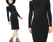 1980s Black Bodycon Long Sleeve Dress Cut Out Shoulder Dress Jersey Cotton Turtleneck Mock Neck Dress Sexy Black Cut Out Party Dress (XS/S)