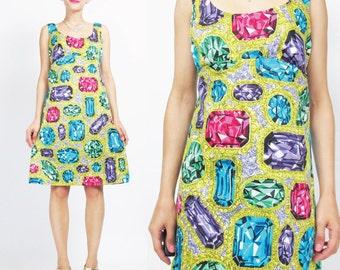 1960s JEWEL Print Dress Gem Stone 1960s Novelty Dress Vintage 60s Sheath Dress Bright Colorful Sleeveless Mini Dress Bling Party Dress (S/M)