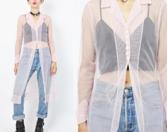 90s Sheer Blouse Baby Pink See Through Mesh Shirt Long Duster Blouse Layering Maxi Blouse Spice Girls Clueless Layering Cover Up Top (S)