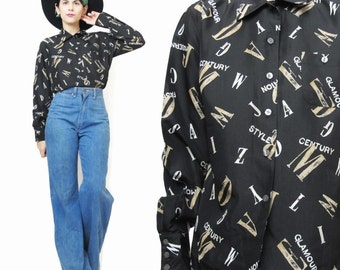 90s Black Silk Blouse Novelty Print Shirt Button Up Blouse Letter Print Fashion Blouse Vintage Womens Long Sleeve Shirt Collared (S/M) E144