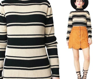 90s Striped Turtleneck Sweater Wool Stretchy Ribbed Knit Sweater Tan and Black Striped Sweater ModeMinimal Winter Long Sleeve Jumper (M/L)