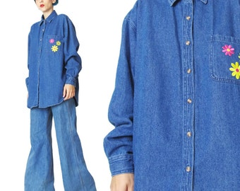 Vintage 90s Denim Shirt Daisey Floral Patches Long Sleeve Denim Shirt Grunge Embroidered Blue Jean Shirt Vintage Denim Blouse (L/XL) E104