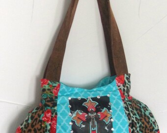 Adorable Handbag Cheetah Coral Roses/Aqua Blue Quatrefoil/Blinged Cross-Ready To Ship