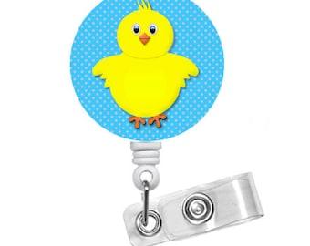 "Easter Chick Blue 1.5"" - Badge Holders - Holiday Badge Reel - Pediatric Badge Holder - Nurse Badge - Teacher Badge - Easter Badge Reel"