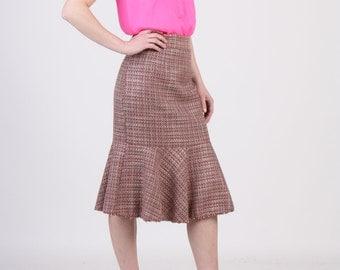 Pink Tweed Fishtail Pencil Skirt, Ruffle Hem Pencil Skirt, Dusy Pink Pencil Skirt, Midi Skirt, Spring Skirt, Tailored Skirt, Office Skirt