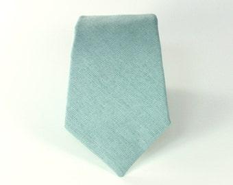 Men's Tie - J Crew Inspired Dusty Shale Groomsman Necktie - Dusty Grey Green Linen Neck Tie
