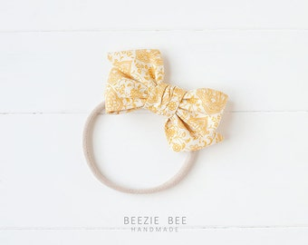 """The Sunday Bow in """"Vintage Goldenrod"""" - Hand Tied Fabric Bow - Babies, Toddlers, Girls - Nylon Headband or Clip"""