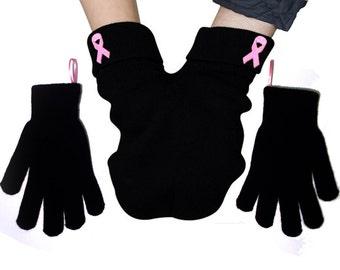 Breast Cancer Awareness Smitten, pink ribbon reminder, GLoves and Smitten Card Included. Share your mitten! FREE Shipping USA