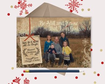Rustic Christmas Photo Card · Be Still and Know that I am God · Christian Christmas Cards
