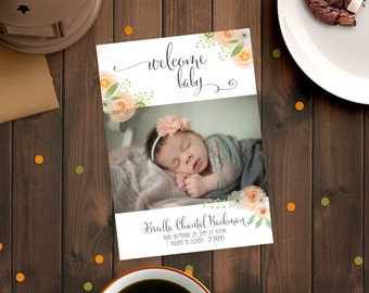 Sweet Baby Birth Announcement - Welcome Baby - magnet or card options