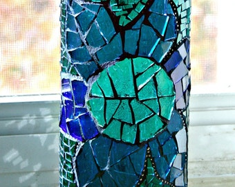 Flower Mosaic Stained Glass Vase, Blue, Green and Purple - 7 x 3 inches