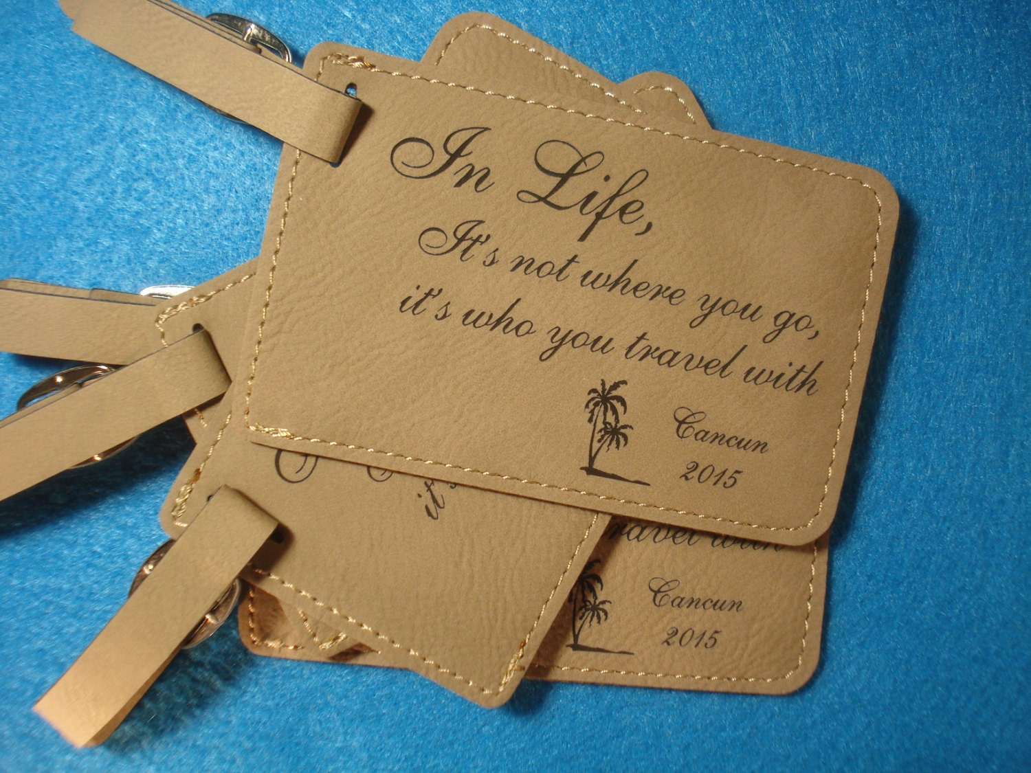 Wedding Favor Luggage Tags Leather : Leather Luggage Tags 100 Custom WEDDING FAVORS Leatherette