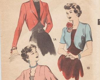 Advance 4897 / Vintage 40s Sewing Pattern / Bolero/ Cropped Jacket / Size 16 Bust 34