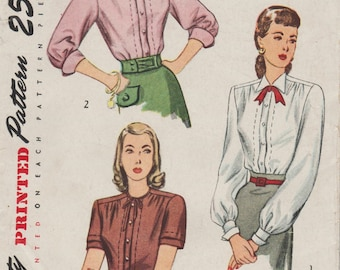 Vintage 40s Sewing Pattern / Simplicity 2132 / Blouse / Size 16 Bust 34