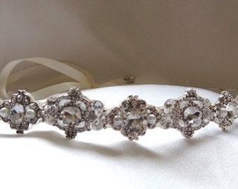 Maria Wedding bridal crystal headpiece headband satin ribbon vintage inspired band