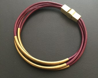 Cyclamen (plum) leather wrap bracelet