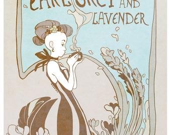 Earl Grey & Lavender - tea lover's poster - art nouveau illustration