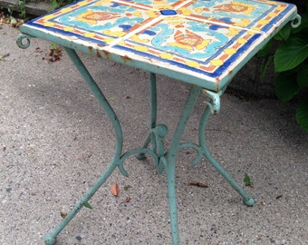Vintage D & M California Tile Wrought Iron Table c 1920s 1930s