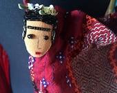 Frida Kahlo Pin - Frida Kahlo Jewelry - Frida Kahlo Art - Frida Kahlo Stick Pin - Frida Wearable Art - Frida Pin, Purple & Green Flowers