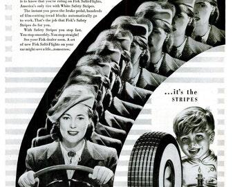 1947 Fisk Tire Company Advertisement Print Ad Poster Rubber Mechanic Shop Garage Typography Nostalgic Black White Wall Art Home Decor