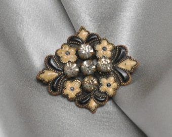 Antique Enameled and Rhinestone Brooch Victorian Era Gold Toned
