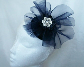 Dark Navy Blue Crinoline & Rhinestone Brooch Wedding Percher Fascinator Mini Hat - Custom Made to Order