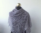 Silvery Grey hand knitted luxurious merino and silk lace shawl