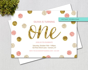 First Birthday Pink and Gold Glitter Invitation Editable Template, Instant Download, Add your own text, Printable Digital Invitation, 1948