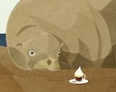 Sea Lion Enjoys Coffee