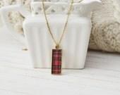 Women's Preppy Dainty Charm Necklace - Classic Plaid