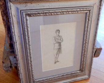 Original Edwardian Sporting Sketch Pencil Graphite Portrait Signed Margaret Davidson 1902 Athlete Runner Matted & Framed Collectible Art