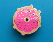 Cat brooch - Enamel Cat Brooch - Kawaii Pin - Lapel Pin - Doughnut Cat - Cat Pin - Cat Lover Gift - Hard Enamel Cat Brooch