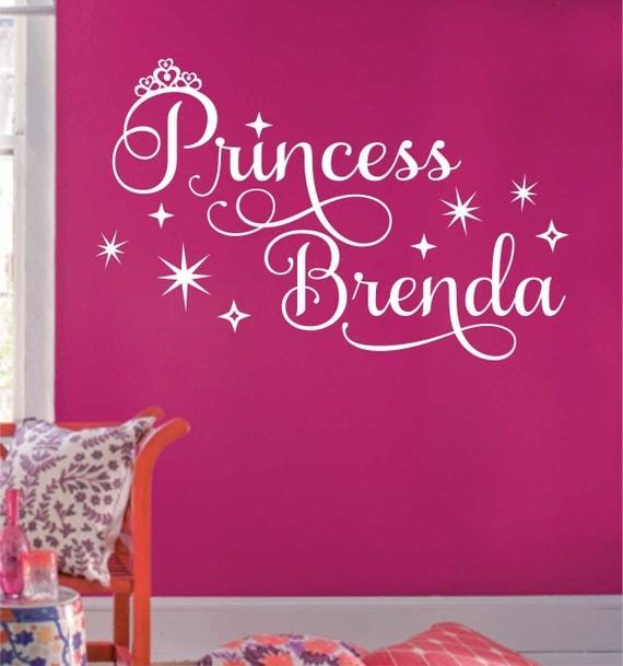 Princess Crown Name, Vinyl Wall Lettering, Vinyl Wall Decals, Vinyl Letters, Vinyl Lettering, Wall Quotes, Nursery Decal, Princess Decal