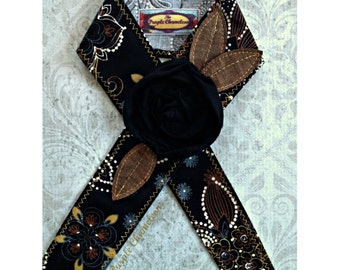Black Flower Headwrap Head Wrap Flower Headband Tichel Sash Headcover Tie on Headband Brown Gold Gray Cream Tichel Accessory Gifts for Her