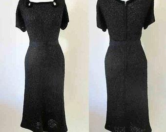 Lovely 1950's curve hugging ribbon knit dress with black velvet trim/ matching belt Rockabilly pinup girl Size Medium