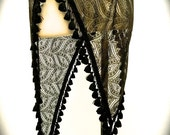 Antique Gold Lace Asymmetrical Willow Skirt with Black Tassel Trim (Adjustable)