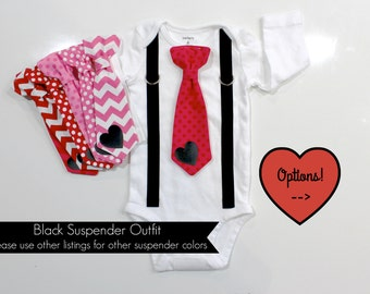 Baby Boy Valentine's Day Outfit. Newborn boy. First Valentines Day. Baby boy clothes. Tie and suspender outfit. Heart tie. Baby tie.