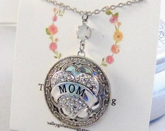 Diamonds for Mom,Mother's Day Necklace,Jewelry,Peridot Locket,Locket,Silver Locket,Green Locket,April Birthstone, valleygirldesigns.