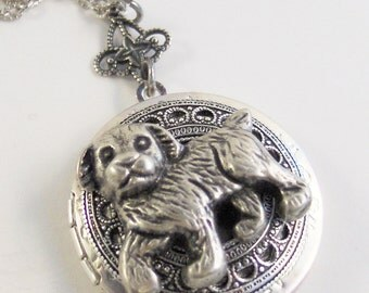Doggie Love,Dog Necklace,Dog Jewelry,Dog Locket,Silver Dog,Pet Locekt,Pet Necklace,Puppy Necklace,Puppyn Jewelry,dog,valleygirldesigns