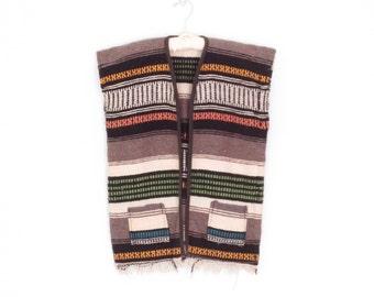 Vintage Surfer Vest * Woven Baja Top * Ethnic Striped Wrap * Medium - Large