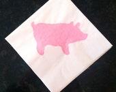 Pink Pig Paper Napkins - Cocktail, Luncheon, Dinner Size - Set of 24